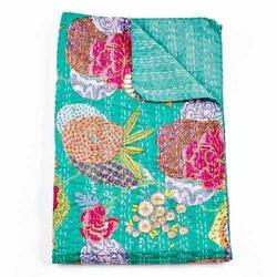 Cotton Multicolor Green Kantha Quilt