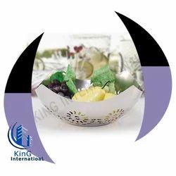 Metal Silver Grey Simple Fruit Basket