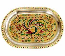 Peacock Designed SS Meenakari Tray