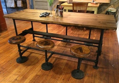 Vintage Cafeteria Wood Table