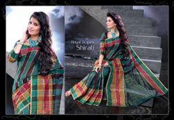 Maroon Cotton Traditional Saree