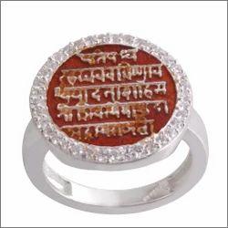 925 Silver Raj Mudra Round Finger Ring