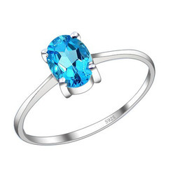 Swiss Blue Quartz Gemstone Silver Ring