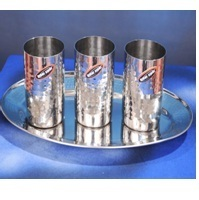 Steel 3 Pcs. Glass Hammers W/Oval Tray