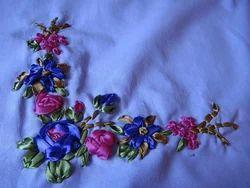 Printed Satin Ribbon Work Fabric, for Garments
