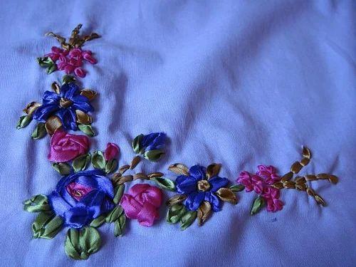 Satin Ribbon Work Fabric Satin Ka Kapdaa स टन क कपड