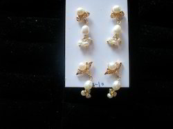 Brass Pearl Earrings