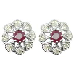 Ruby Studded Silver Earring with Diamonds
