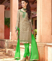 Brown And Green Salwar Suit