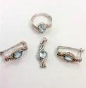 Rhodium Designer Pendant Ring Set