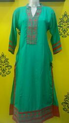 Embroidered Green Rayon Kurti