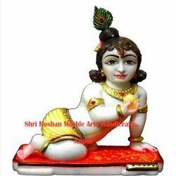 100% Pure Makrana Marble Laddu Gopal Statue, 2 Feet