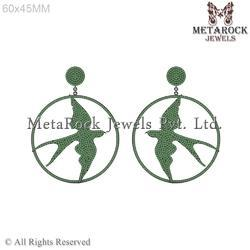 Micro Pave Setting Chrome Diopside Eagle Earring