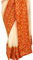 Pure White Kora Saree (Red Velvet Embroidered Border)