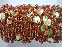 Coral Quartz Gold Plated Sterling Silver Disk Chain