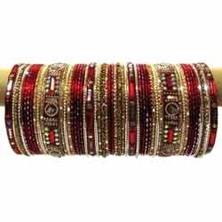 Golden Red Bridal Bangles