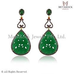 Micro Pave Setting Emerald Gemstone Carved Earring
