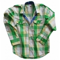 Men's White And Green Checks Cotton Full-Sleeves Shirt