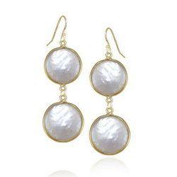 Pearl Sterling Silver Bezel Set Earrings
