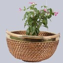 Round Wicker Planter Basket with Handle