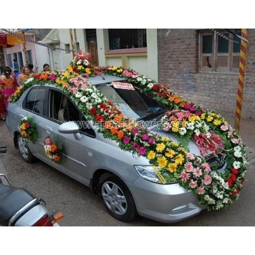 Traditional With Mix Flowers Wedding Car Decoration Blooming