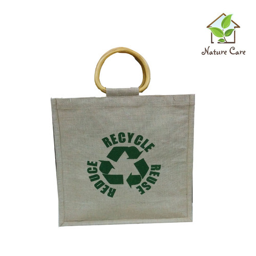 Nature Care Natural Color Wooden handle Jute Cotton bags