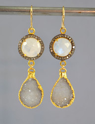 White Druzy Gold Plated Bezel Set Gemstone Earrings