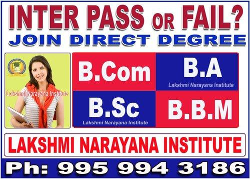 Failed Inter Join Direct Degree B Com / BA / B Sc / BBM in