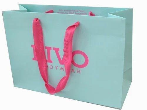 Logo Printed Paper Bags With Ribbon Handles, Logo Printed Paper ...