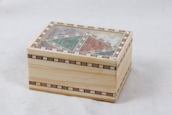 Big Gemstone Pine Wood Jewellery Box