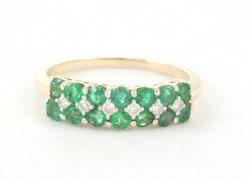 14k Emerald And Diamond Yellow Gold Ring