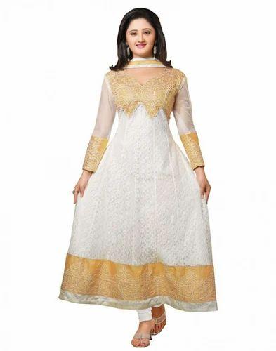 Anarkali dress in white color