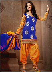 Salwar Kameez - Green And Rani Chanderi Silk Punjabi Salwar Suit ...