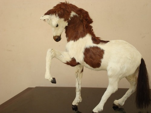 Leather Fur Horse Statue Handmade Leather Horse Indore