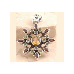 Garnet Pendant Set in 925 Sterling Silver