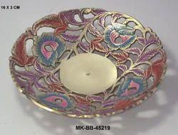 MKI Round Brass Meenakari Bowl for Home