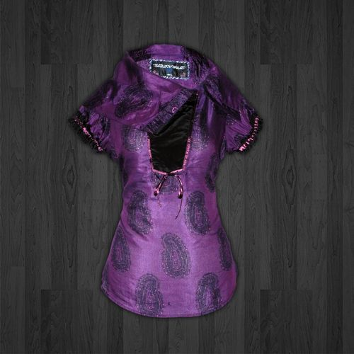 Ladies High Fashion Printed Blouse with Short Sleeves