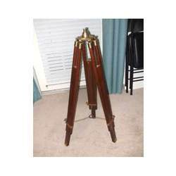 Wooden Tripod Floor Lamp With Brass Head