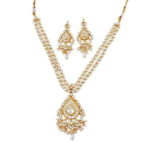 Pearl Necklace And Earring Set With 22k Gold Plated