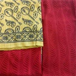 Red Printed Khadi Fabric Suit