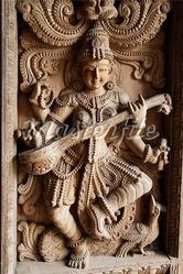 Saraswati Wooden Sculpture