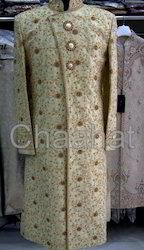 Indian Mens Wedding Gold Color Sherwani