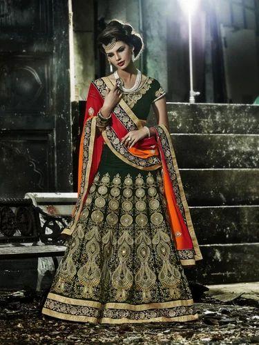 ba2b9806e5 Green Color Pure Micro Velvet Fabric Designer Lehanga - Sarees Dress ...