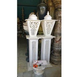 Marble Lamp Pillars With Carving On