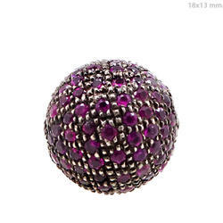 ruby gemstone 925 silver spacer bead ball