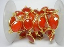 Carnelian Bezel Connector Station Chain Gold Plated
