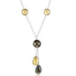 Sterling Silver Gemstone Bezel Set Necklace