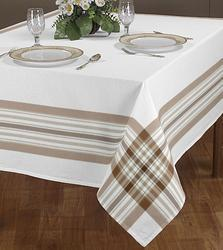 Strip Line Checked Border Attached Printed Table Cloth