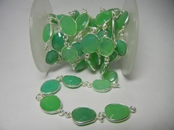 Green Chalcedony Gemstone Bezel  Chain