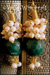 White And Green Earring